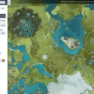 Genshin Inpact Interactive World Mapサービスを使っている画面キャプチャ